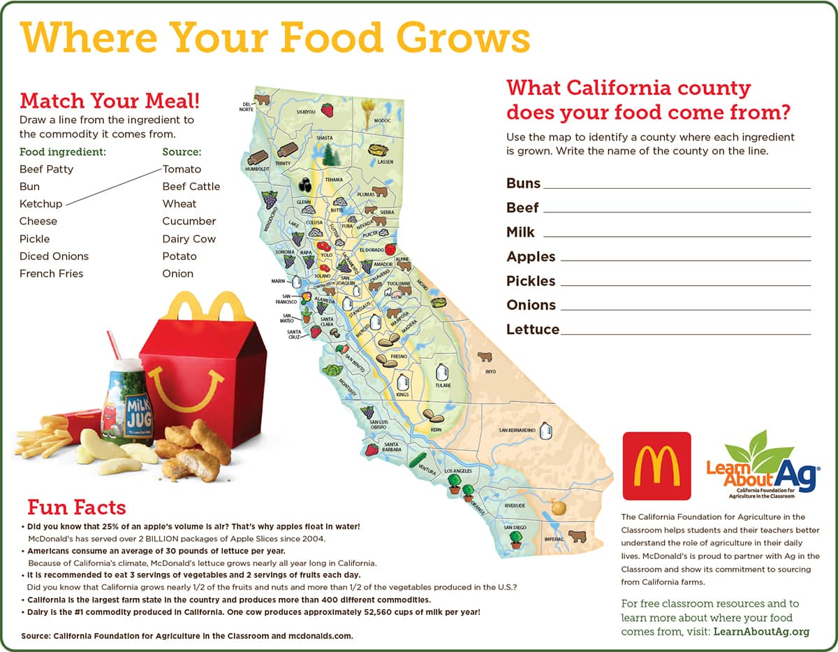 """Where Your Food Grows"" McDonalds Tray Liner/Placemat"